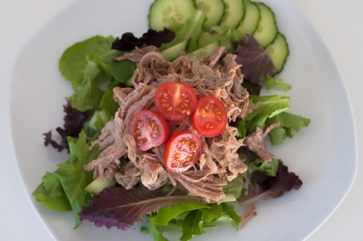 Pulled-pork healthy salad with fresh, local veggies